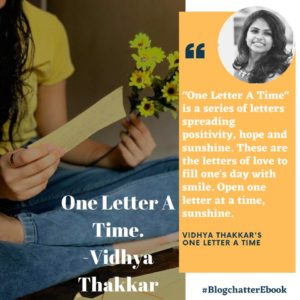 Book Review of One Letter at a time by Vidhya Thakkar