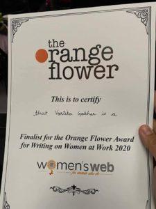 Certificate - Orange Flower Awards by Women' Web 2020